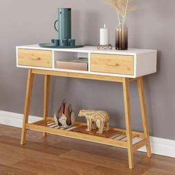 Wood Entryway Console Sofa Table with Drawer White
