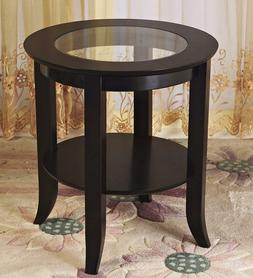 Wood Genoa End Table, Round Side /Accent Table , Inset Glass