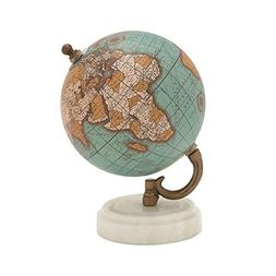 "Deco 79 Wood Metal Marble Globe 5""W, 7""H"