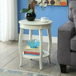 Wood Side Lamp Table Sofa End Console Display Shelf Round Of
