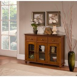 Kings Brand Furniture Wood with Glass Doors Console Sideboar