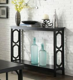 Wooden Console Table W/ Shelves Bottom Shelf Display Storage