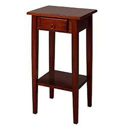 Small Wooden End Table with Drawer and Shelf Storage Brown W