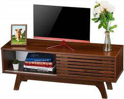 Wooden TV Stand Console Table Storage Cabinet With Sliding D